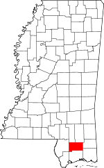 Map of Mississippi showing Stone County - Click on map for a greater detail.