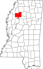 Map of Mississippi showing Tallahatchie County - Click on map for a greater detail.