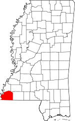 Map of Mississippi showing Wilkinson County - Click on map for a greater detail.