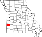 Map of Missouri showing Barton County - Click on map for a greater detail.