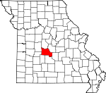 Map of Missouri showing Camden County - Click on map for a greater detail.