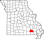 Map of Missouri showing Carter County - Click on map for a greater detail.
