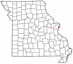 Map of Missouri showing City of St. Louis - Click on map for a greater detail.