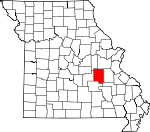 Map of Missouri showing Crawford County - Click on map for a greater detail.