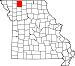 Map of Missouri showing Harrison County - Click on map for a greater detail.