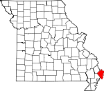 Map of Missouri showing Mississippi County - Click on map for a greater detail.