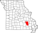 Map of Missouri showing Reynolds County - Click on map for a greater detail.