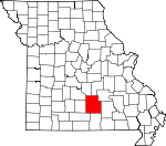 Map of Missouri showing Texas County - Click on map for a greater detail.