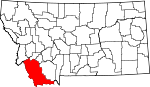 Map of Montana showing Beaverhead County - Click on map for a greater detail.