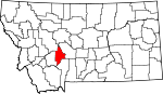 Map of Montana showing Broadwater County - Click on map for a greater detail.