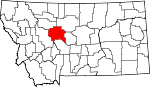 Map of Montana showing Cascade County - Click on map for a greater detail.