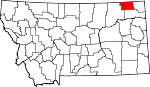 Map of Montana showing Daniels County - Click on map for a greater detail.