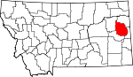Map of Montana showing Dawson County - Click on map for a greater detail.