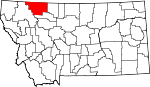 Map of Montana showing Glacier County - Click on map for a greater detail.