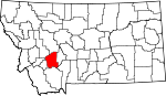 Map of Montana showing Jefferson County - Click on map for a greater detail.