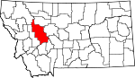 Map of Montana showing Lewis and Clark County - Click on map for a greater detail.