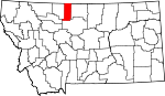 Map of Montana showing Liberty County - Click on map for a greater detail.