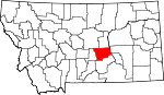 Map of Montana showing Musselshell County - Click on map for a greater detail.