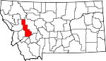 Map of Montana showing Powell County - Click on map for a greater detail.