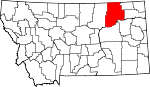 Map of Montana showing Valley County - Click on map for a greater detail.