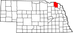 Map of Nebraska showing Cedar County - Click on map for a greater detail.
