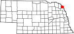 Map of Nebraska showing Dakota County - Click on map for a greater detail.