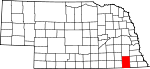 Map of Nebraska showing Gage County - Click on map for a greater detail.