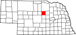 Map of Nebraska showing Garfield County - Click on map for a greater detail.