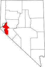 Map of Nevada showing Lyon County - Click on map for a greater detail.