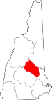 Map of New Hampshire showing Belknap County - Click on map for a greater detail.