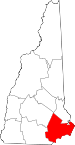 Map of New Hampshire showing Rockingham County - Click on map for a greater detail.