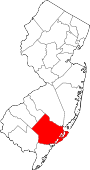 Map of New Jersey showing Atlantic County - Click on map for a greater detail.