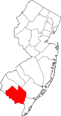 Map of New Jersey showing Cumberland County - Click on map for a greater detail.