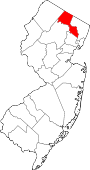 Map of New Jersey showing Passaic County - Click on map for a greater detail.