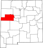 Map of New Mexico showing Cibola County - Click on map for a greater detail.