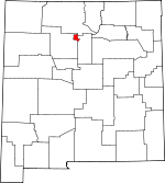 Map of New Mexico showing Los Alamos County - Click on map for a greater detail.