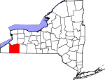 Map of New York showing Cattaraugus County - Click on map for a greater detail.