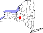 Map of New York showing Cortland County - Click on map for a greater detail.