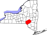 Map of New York showing Delaware County - Click on map for a greater detail.