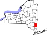 Map of New York showing Dutchess County - Click on map for a greater detail.