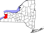 Map of New York showing Erie County - Click on map for a greater detail.