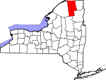 Map of New York showing Franklin County - Click on map for a greater detail.