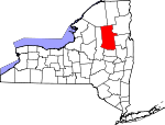 Map of New York showing Hamilton County - Click on map for a greater detail.