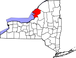 Map of New York showing Jefferson County - Click on map for a greater detail.