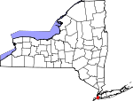 Map of New York showing Kings County - Click on map for a greater detail.