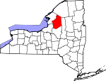 Map of New York showing Lewis County - Click on map for a greater detail.