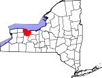 Map of New York showing Monroe County - Click on map for a greater detail.
