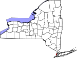 Map of New York showing New York County - Click on map for a greater detail.
