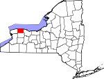 Map of New York showing Orleans County - Click on map for a greater detail.