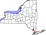 Map of New York showing Rockland County - Click on map for a greater detail.